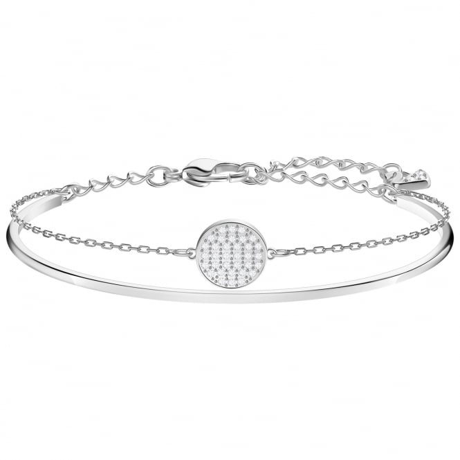 Swarovski Ginger White Crystal Bangle in Rhodium Silver