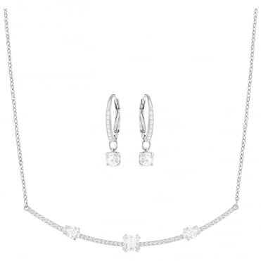 Gray Rhodium & White Crystal Necklace & Earrings Set