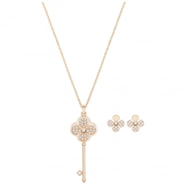 Hall Rose Gold Crystal Key Pendant Necklace & Earrings Set