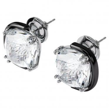 Harmonia Cushion Cut Earrings with White Crystal in Mixed Metal