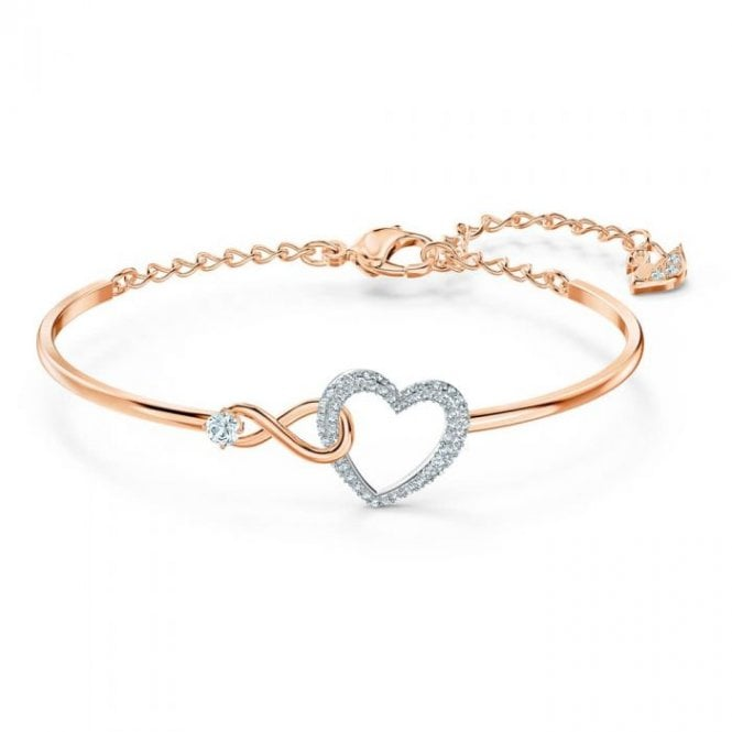 Swarovski Infinity Heart Bangle in Rose Gold and Rhodium Silver