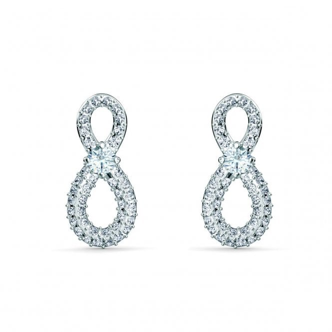 Swarovski Infinity Mini Pierced Earrings with White Crystal in Rhodium Silver