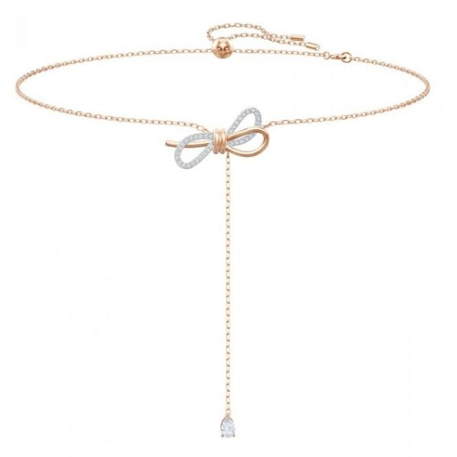 Swarovski Lifelong Bow Y Necklace in Rose Gold and Rhodium Silver, 30-42cm