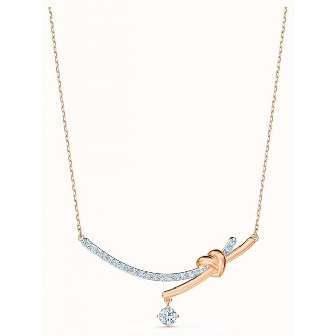 Swarovski Lifelong Heart Necklace in Rose Gold and Rhodium Silver, 38cm