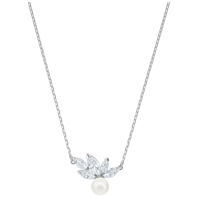 Swarovski Louison White Crystal Pearl Necklace in Rhodium Silver