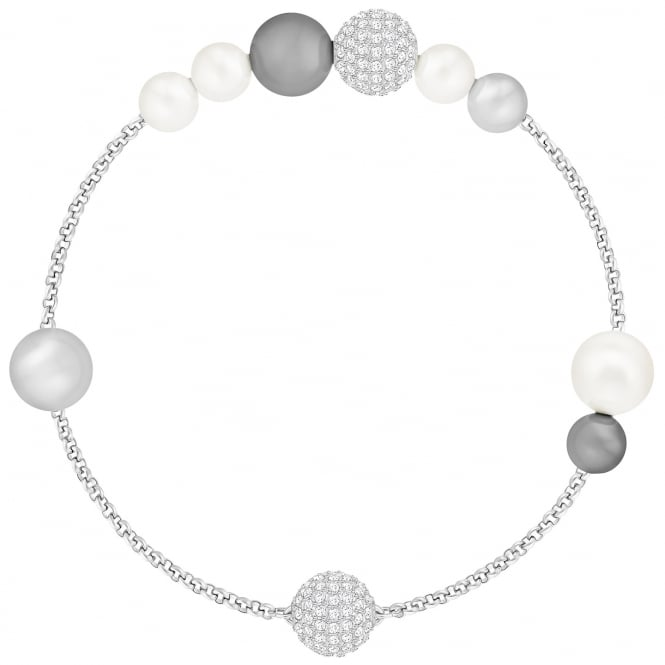 Swarovski Remix Collection Grey Crystal and Pearl Bracelet in Rhodium Silver