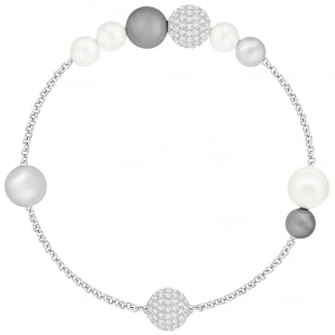Remix Collection Rhodium Grey Crystal & Mixed Pearl Bracelet