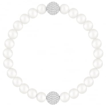 Remix Collection Rhodium & White Crystal & Pearl Bracelet