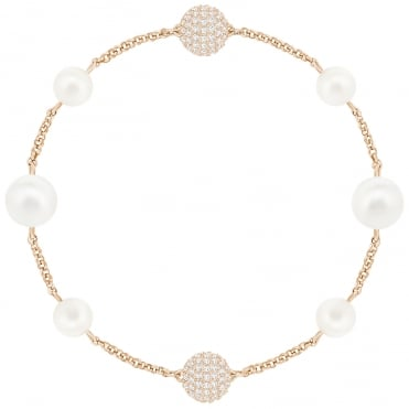 Remix Collection Rose Gold White Crystal & Mixed Pearl Bracelet