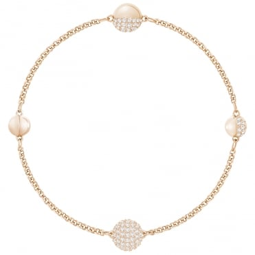 Remix Collection Round Shape Rose Gold & White Crystal Bracelet