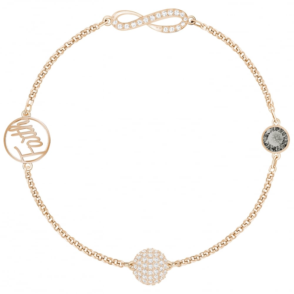 Swarovski Remix Infinity Symbol Black Crystal Faith Bracelet In