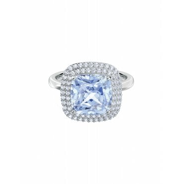 Rhodium Silver and White and Blue Crystal Angelic Ring -  Size 55