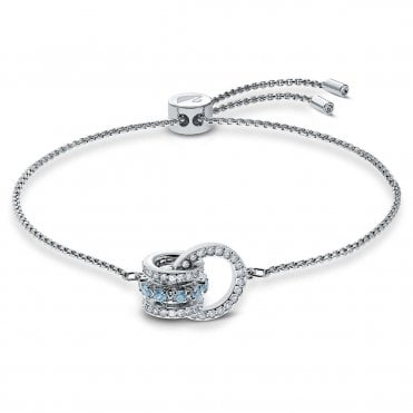 Rhodium Silver and White and Blue Crystal Further Interlocking Bracelet