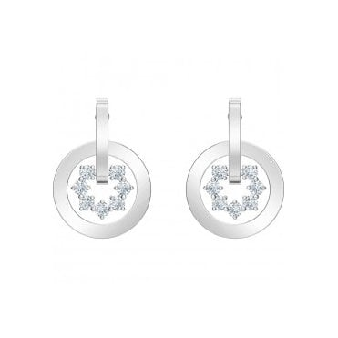 Rhodium Silver and White Crystal Further Earrings