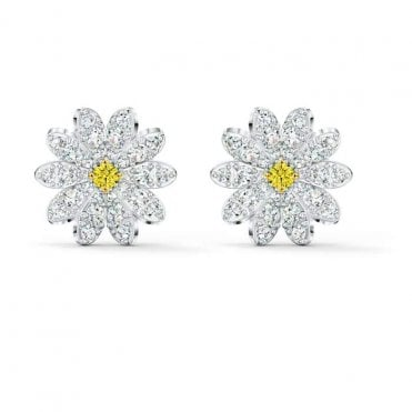 Rhodium Silver and Yellow and White Crystal Eternal Flower Earrings