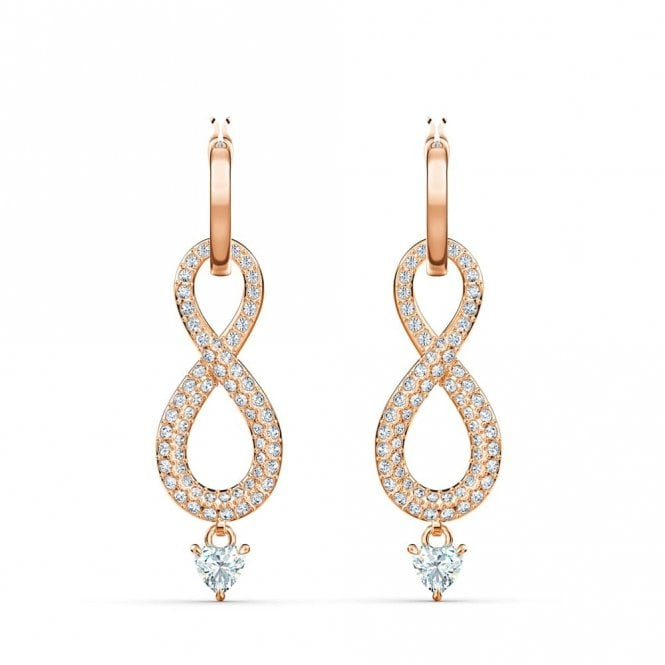 Swarovski Rose-gold tone Plated Infinity Pierced Earrings