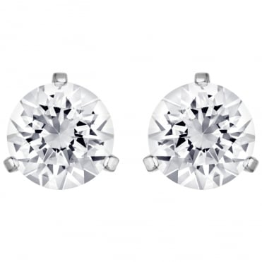 Solitaire Pierced White Crystal Rhodium Earrings