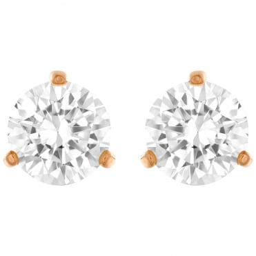 Solitaire Rose Gold White Crystal Pierced Earrings