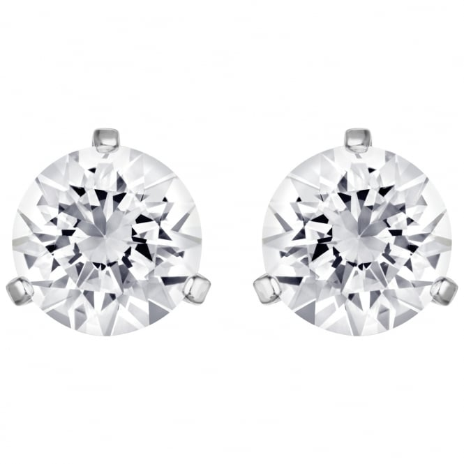 Swarovski Solitaire White Crystal Earrings in Rhodium Silver
