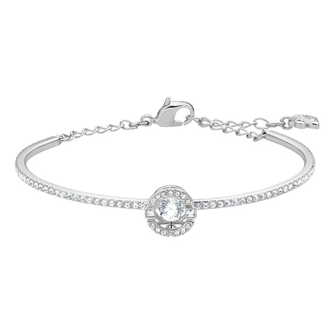 Swarovski Sparkling Dance White Crystal Bangle in Rhodium Silver
