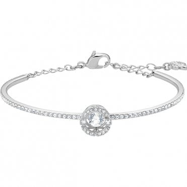 Sparkling Dance White Crystal Bangle in Rhodium Silver