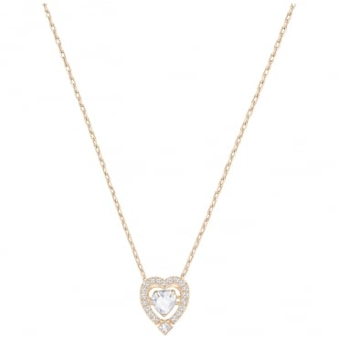 Sparkling Dance White Crystal Heart Pendant Necklace in Rose Gold, 38cm