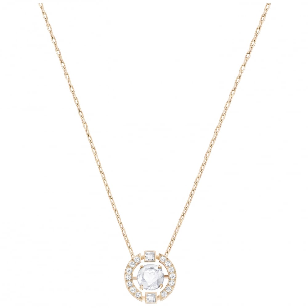 Sparkling Dance White Crystal Round Pendant Necklace in Rose Gold 7e63e207c5