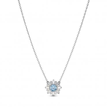 Sunshine Blue Crystal Pendant Necklace in Rhodium Silver, 38cm