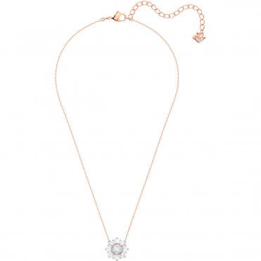 Sunshine White Crystal Pendant Necklace in Rose Gold