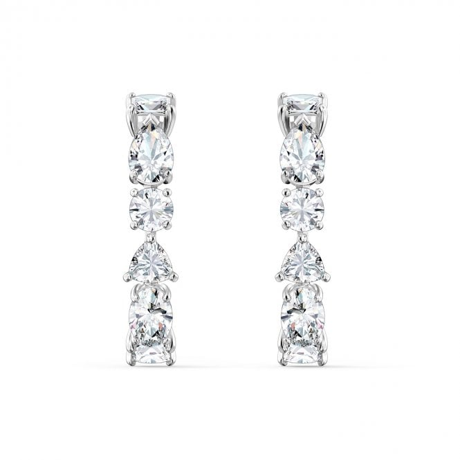 Swarovski Tennis Deluxe Pierced Earrings with White Crystal in Rhodium Silver