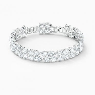 Tennis Deluxe White Crystal Bracelet in Rhodium Silver