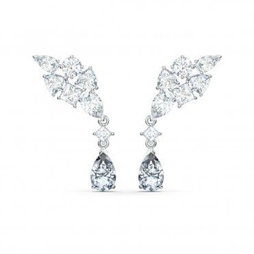 Tennis Deluxe White Crystal Cluster Pierced Earrings in Rhodium Silver