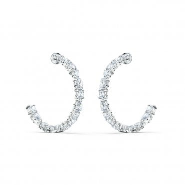 Tennis Deluxe White Crystal Mixed Hoop Pierced Earrings in Rhodium Silver