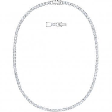 Tennis Deluxe White Crystal Necklace in Rhodium Silver