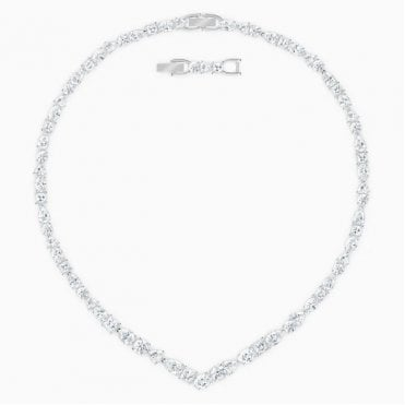 Tennis Deluxe White Crystal Pendant Necklace in Rhodium Silver, 38cm