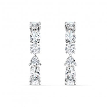Tennis Deluxe White Crystal Pierced Earrings in Rhodium Silver