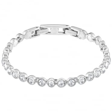 Tennis White Crystal Bracelet in Rhodium Silver