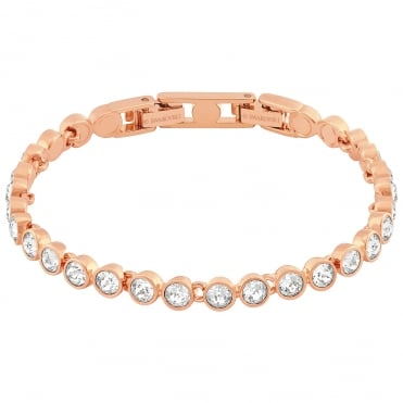 Tennis White Crystal Bracelet in Rose Gold