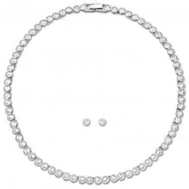 Tennis White Crystal Necklace and Earrings Set in Rhodium Silver, 38cm