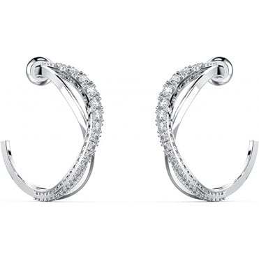 Twist Hoop White Crystal Pierced Earrings in Rhodium Silver