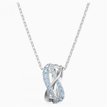 Twist Rows Blue Crystal Pendant Necklace in Rhodium Silver, 38cm