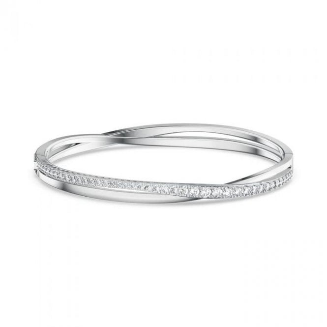 Swarovski Twist Rows White Crystal Bracelet in Rhodium Silver
