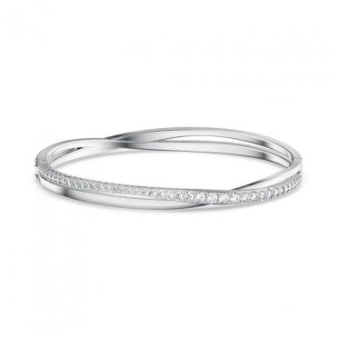Twist Rows White Crystal Bracelet in Rhodium Silver