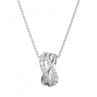Twist Rows White Crystal Pendant Necklace in Rhodium Silver, 38cm