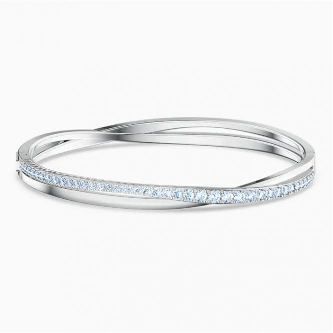 Swarovski Twisted Hoop Bracelet with White and Blue Crystal in Rhodium Silver