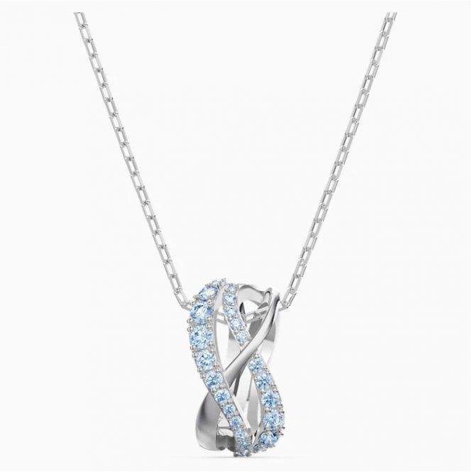 Swarovski Twisted Pendant with White and Blue Crystal in Rhodium Silver