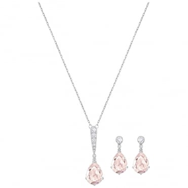 Vintage Rhodium Pink Crystal Necklace & Earrings Set