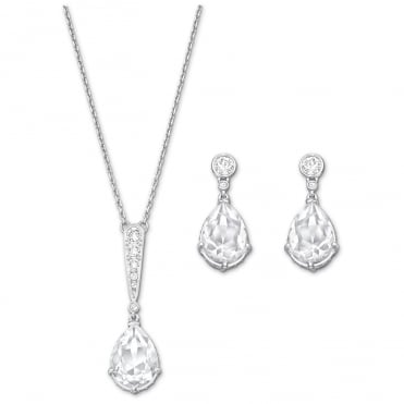 Vintage Rhodium & White Crystal Necklace & Earrings Set