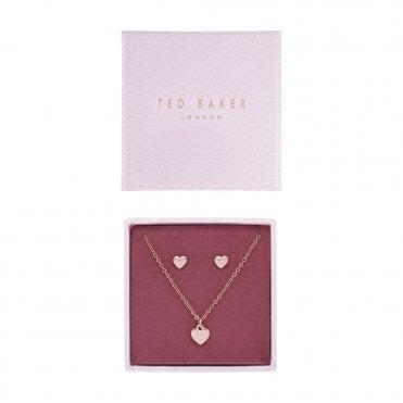 44617c81b Amoria Rose Gold Heart Stud (Harly) and Pendant Necklace (Hara) Gift Set