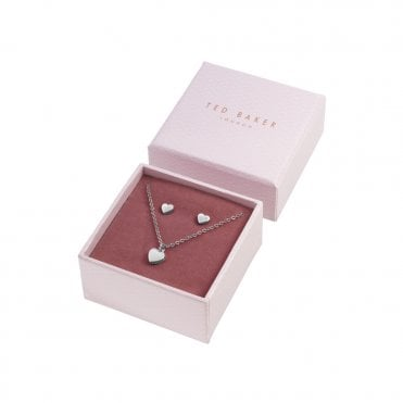 Amoria Silver Heart Stud (Harly) and Pendant Necklace (Hara) Gift Set